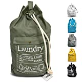 Laundry Bag Backpack Large Spacious 25'X22' Drawstring Sturdy Cotton Canvas with Strap for College Students Dorm Room Clothes Hamper Storage Washer Organizer (Army Green)