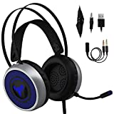 [Newest 2019] Gaming Headset for Xbox One, S, PS4, PC with LED Soft Breathing Earmuffs, Adjustable Microphone, Comfortable Mute & Volume Control, 3.5mm Adapter for Laptop, PS3 (Regular)