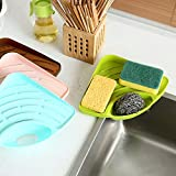 Gotian Sponges Kitchen Sink Corner Shelf Wall Cuisine Dish Rack Drain ~ For the Sink, Washing Dishes Easy to Use ~ Triangular Shape, Full Use of Space ~ (Green)