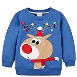Kedera 2018 Baby Toddler Girl Boy Christmas Sweater Cute Cotton Pullover Sweatshirt (2-3 Years Old, Blue Deer)