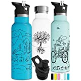 Insulated Water Bottle with Straw Double Walled Stainless Steel Vacuum Thermos Eco Friendly Sweat Proof Powder Durable Finish BPA Free Eco Friendly Tree of Life Push Pull Sports Cap (20oz, White)
