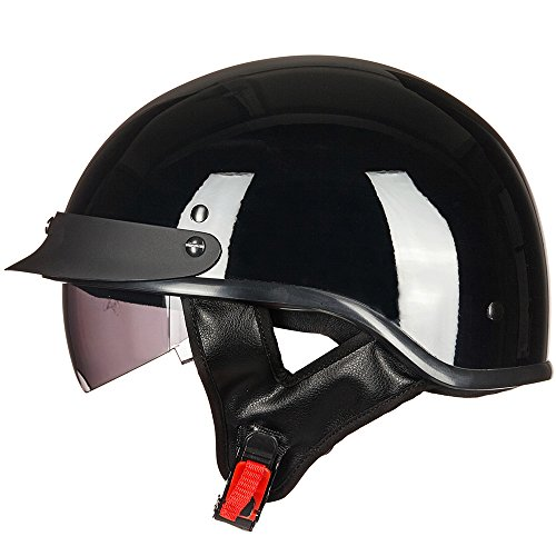 ILM Motorcycle Half Helmet Sun Visor Quick Release Buckle DOT Approved Half Face Cycling Helmets for Men Women (L, GLOSS BLACK)