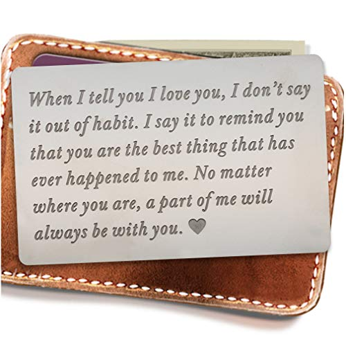 Engraved wallet insert,Stainless steel Wallet Card Insert,Engraved love message,Valentine's Day, Groom's Gift For Him,Boyfriend Gifts