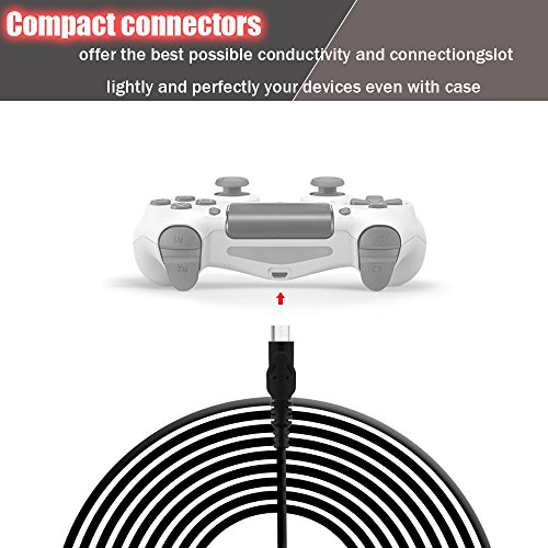 PS4 Controller Charging Cable 10ft/3M, Hi-Speed Charge and Play Micro USB  Cord for PlayStation 4 / Xbox One controllers, Charge 2 Controllers at the