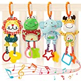 TUMAMA Baby Toys for 0, 3, 6, 9, 12 Months, Handbells Baby Rattles with Teethers Soft Plush Early Development Stroller Car Toys for Infant, Newborn Birthday Present, 4 Pack