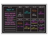 Ala Board 30012 Dry Erase Magnetic Weekly Calendar, Black Fluorescent