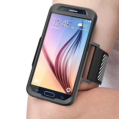 SUPCASE Galaxy S6 Armband, Easy Fitting Sport Running Armband with Premium Flexible Case Combo for Samsung Galaxy S6 (Black)