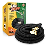 Flexi Hose 100 FT Lightweight Expandable Garden Hose | Ultimate No-Kink Flexibility - Extra Strength with 3/4 Inch Solid Brass Fittings & Double Latex Core | Rot, Crack, Leak Resistant