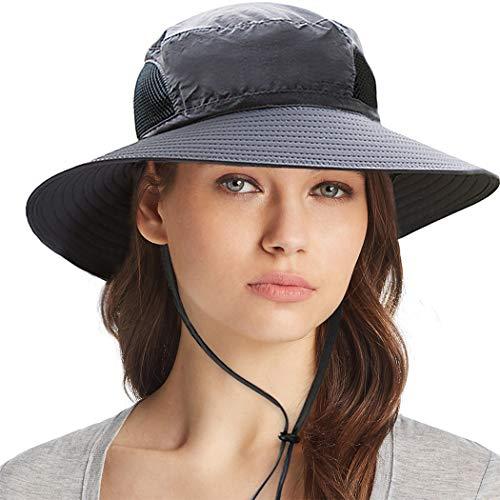 Ordenado Waterproof Sun Hat Outdoor UV Protection Bucket Mesh Boonie Hat Adjustable Fishing Cap Dark Grey