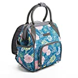 Fit & Fresh Piper Small Backpack Lunch Bag, Insulated Daypack for Travel, Hiking, Commuting, Teal Floral Frolic