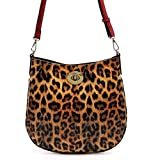 Elphis Leopard Glossy Vegan 2-in-1 Cross Body Bag Saddle Bag Shinny PU Purse (Leopard/Red)