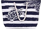 Large Canvas Beach Bag - Perfect Tote Bag For Holidays (Blue turtle)