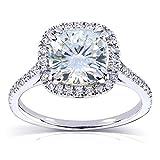 Forever One (D-F) Moissanite Engagement Ring 2 1/4 ctw 14k White Gold, Size 6