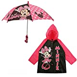 Disney Girls' Little Assorted Characters Slicker and Umbrella Rainwear Set, Dark Pink Minnie Mouse, Age 4-5