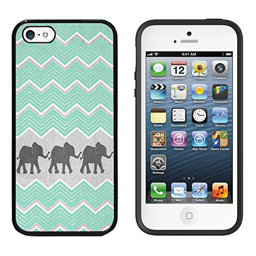 iPhone SE Case, DOO UC (TM) Ultra Protective Cases For Apple iPhone SE (2016) & iPhone 5S 5 Black Case - Chevron Aztec Elephant