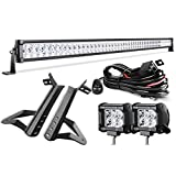 LED Light Bar 52 Inch (54 Inch with Mounting Brackets) DWVO 300W Spot & Flood Combo Beam+ 2X 18W Spot LED work light +2X Steel Metal Upper with 8ft Wiring Harness Kit for JEEP JK Wrangler
