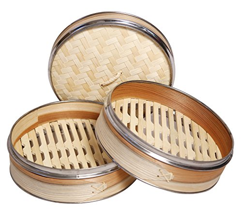 51GZwBgRtZL - Livzing Bamboo Steamer Set With Lid- Brown