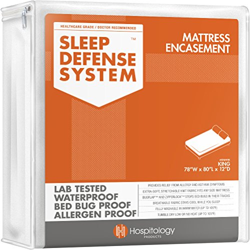 HOSPITOLOGY PRODUCTS Sleep Defense System - Zippered Mattress Encasement - King - Hypoallergenic - Waterproof - Bed Bug & Dust Mite Proof - Stretchable - Standard 12' Depth - 78' W x 80' L