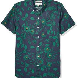 Amazon Brand – Goodthreads Men's Slim-Fit Short-Sleeve Printed Poplin Shirt