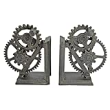 Design Toscano Industrial Gear Steampunk Decor Bookends, 15 Inch, Set of Two, Multicolored