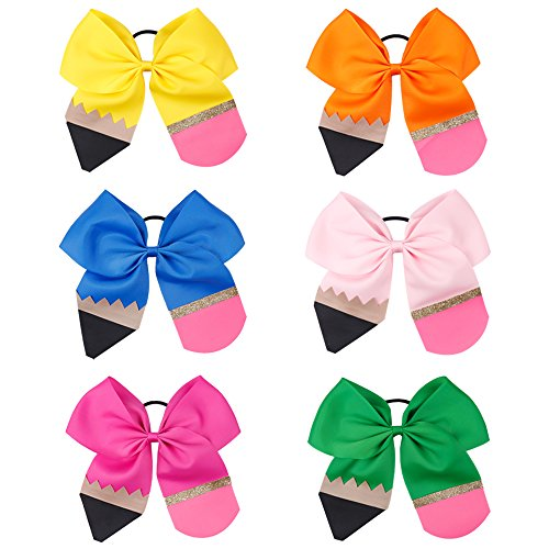 6Pcs Girl Pencil Cheerleader Hair Bow 7' Back To School Hairbow Elastic Band For Teens Kids