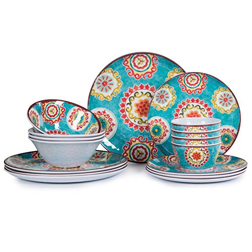 16pcs Melamine Dinnerware Set for 4, Outdoor and Indoor Dinner Dishes Set for Everyday Use, Break-resistant