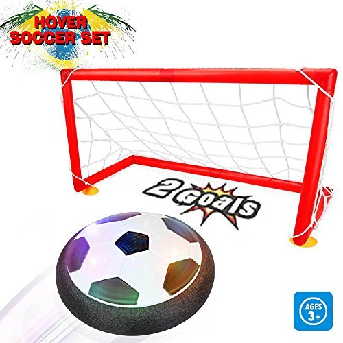 Kids Toys - Air Power Soccer Set with 2 Goals,Warmstore Boys Girls Sport Toys Training Football Indoor Outdoor Disk Hover Ball Game with LED Light Up Toys Children Sports Games Gift