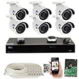 GW 8 Channel H.265 PoE NVR Ultra-HD 4K (3840x2160) Security Camera System with 6 x 4K (8MP) 2160p IP Camera, 100ft Night Vision, Outdoor Indoor Surveillance Camera