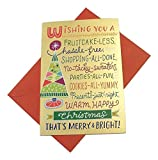 Deluxe Christmas Card 8 Pack ~ Wishing You a Fruitcake-less Christmas (Gold Foil; 4.75' x 6.75'; Red Envelopes; 8-1)