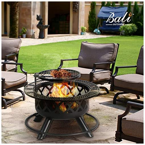 Bali Outdoors Wood Burning Fire Pit Backyard With Cooking Grill 32in Black 24in