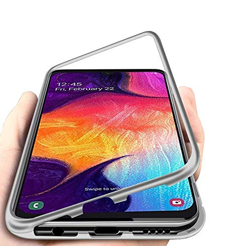 Trifty Slim Mgnetic Flip with Metal Frame & Back Side Transparent Tempered Glass Back, Built-in Powerful Mgnet Flip Back Cover Case for Redmi Note 8 (Silver) 1