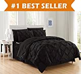 Luxury Best, Softest, Coziest 8-PIECE Bed-in-a-Bag Comforter Set on Amazon! Elegant Comfort - Silky Soft Complete Set Includes Bed Sheet Set with Double Sided Storage Pockets, Full/Queen, Black