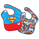 Bumkins DC Comics Superman SuperBib, Baby Bib, Waterproof, Washable, Stain and Odor Resistant, 6-24 Months (Pack of 2)