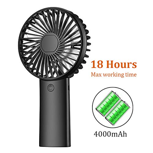 PRAVETTE Portable Handheld Fan, USB 4000mAH Rechargeable Batteries, 8-18 Hours Working Time, 3 Speed Settings for Office Home Outdoor Travel (Black)