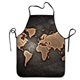 Grunge World Map Kitchen Cooking Apron Unisex Funny Chef Aprons