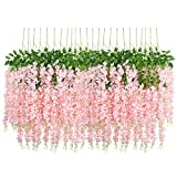 UArtlines 24 Pack 3.6 Feet/Piece Artificial Fake Wisteria Vine Ratta Hanging Garland Silk Flowers String Home Party Wedding Decor Extra Long and Thick (24, Light Pink)