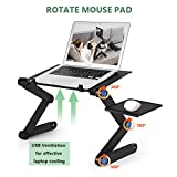 Kapoo Portable Laptop Desk Foldable Laptop Stand Adjustable Laptop Table Ergonomic Bed Tray with Two CPU Cooling Fans & Extra Mouse Pad Side