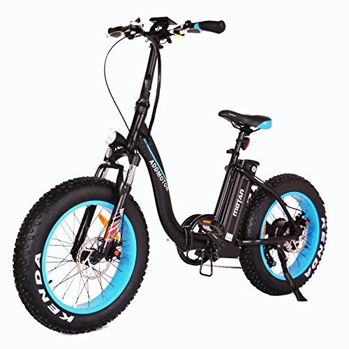 Electric Bicycle Low Step Through Fat Tire 20 Inch Wheel Mini Electric Bike With 500W Motor 48V 10.4 AH Battery M-140 New Design 2018 (Blue)