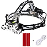 Rechargeable LED headlamp,Brightest and Best 9 LED Headlamp 45000 Lumen Zoomable Waterproof CREE Headlamps Waterproof Hard Hat Light, Bright Head Lights, Running or Camping headlamps ...