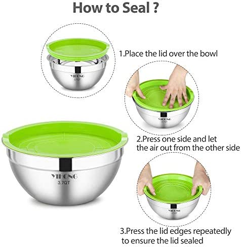 7 Piece Mixing Bowls with Lids for Kitchen, YIHONG Stainless Steel Mixing Bowls Set Ideal for Baking, Prepping, Cooking and Serving Food, Nesting Metal Bowls for Space Saving Storage