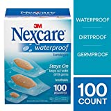 Nexcare Waterproof Clear Bandages, Assorted Sizes, 100 Count
