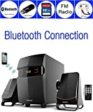 Boytone BT-3685F, Wireless Bluetooth 2.1 Multimedia Powerful Bass System with FM Radio, Remote Control, Aux Port, USB /SD Slot  /MMC Audio for Phones, Tablets, Music and Movies., black