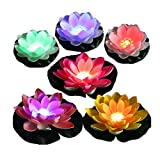 LACGO Pack of 6 Battery Operated Mixed Colors Waterproof Floating LED Lotus Light, Lily Flower with Color-Changing Light, Flower Night Lamp for Pool Garden Fish Tank Wedding Party Decor