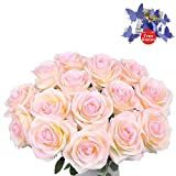 Artificial Flowers AmyHomie Silk Roses Bouquet Home Wedding Decoration Pack of 15 (15, Pink)