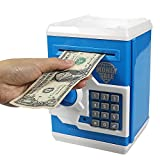 HUSAN Great Gift Toy for Kids Code Electronic Piggy Banks Mini ATM Electronic Save Money Coin Bank Box for Children Password Lock case (Blue)