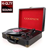 GOODNEW Vinyl Record Player Turntable, Built in Speakers, Support Headphone & RCA Output and AUX (3.5mm) Input Jack