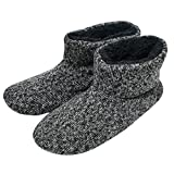SunbowStar Men's Faux Fur Lined Knit Anti-Slip Indoor Slippers Boots House Slipper Bootie,Black-8 D(M) US