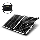 KOMAES 100 Watt 12V/24V Monocrystalline Portable Folding 2Pcs 50W Solar Panel Suitcase Built-in Kickstand with Waterproof 20A Charger Controller for Camping