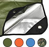 """Arcturus Heavy Duty Survival Blanket - Insulated Thermal Reflective Tarp - 60"""" x 82"""". All-Weather, Reusable Emergency Blanket for Car or Camping (Olive Green)"""