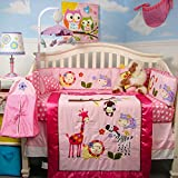 SoHo Baby Crib Bedding 10Pc Set, Pink Animal Pals